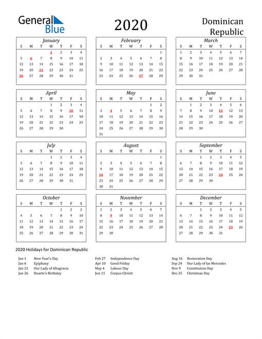 2020 Dominican Republic Holiday Calendar