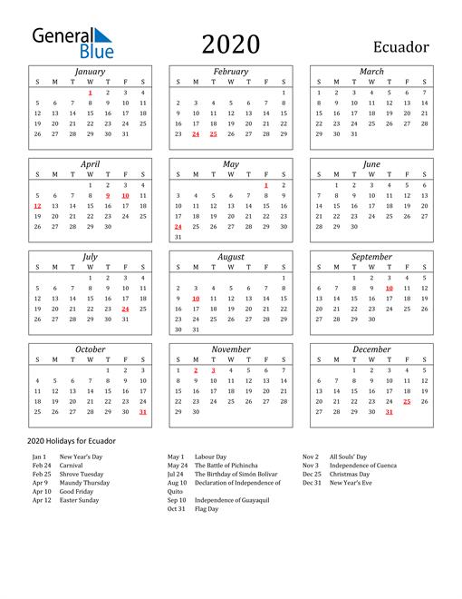 Image of Ecuador 2020 Calendar Streamlined Version with Holidays