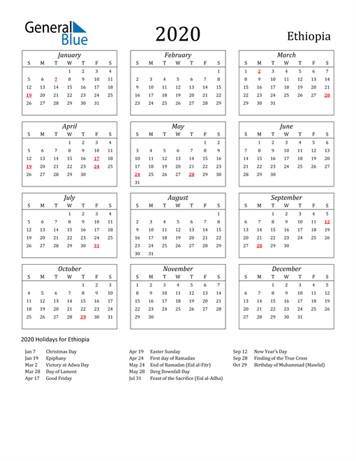 Image of Ethiopia 2020 Calendar Streamlined Version with Holidays