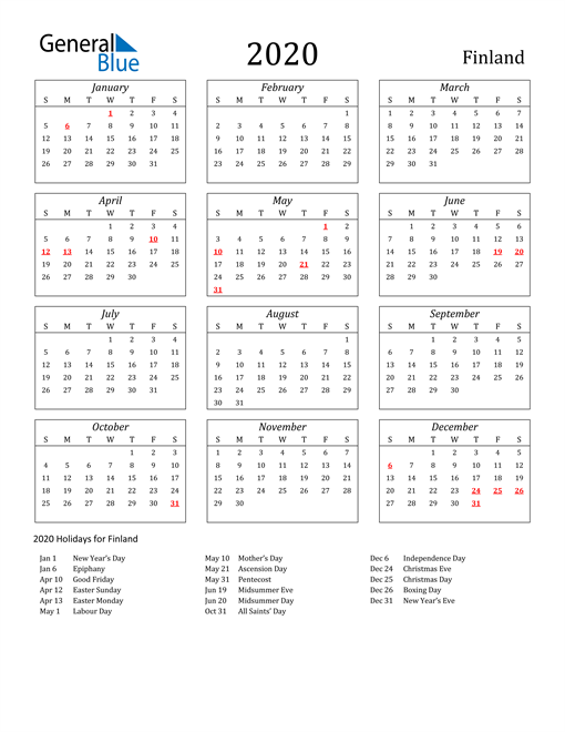 Image of Finland 2020 Calendar Streamlined Version with Holidays