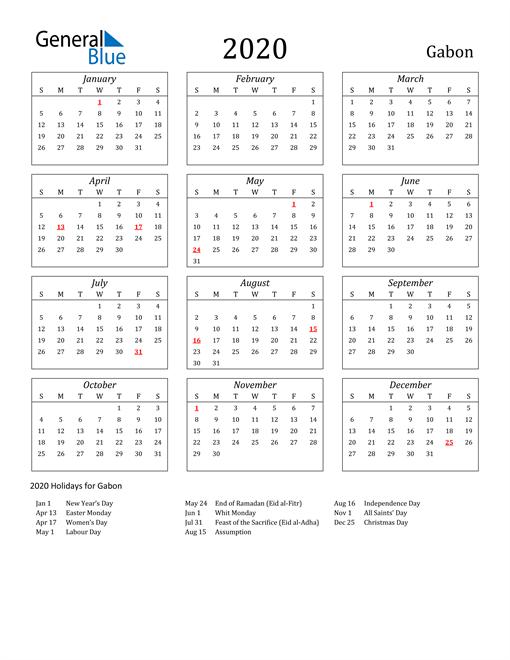 Image of Gabon 2020 Calendar Streamlined Version with Holidays
