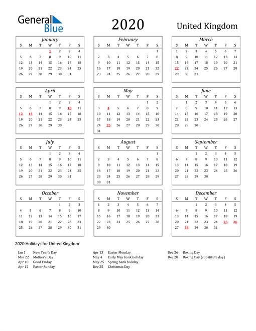 2020 United Kingdom Holiday Calendar