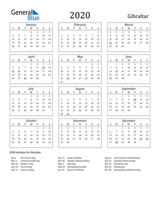 2020 Gibraltar Holiday Calendar