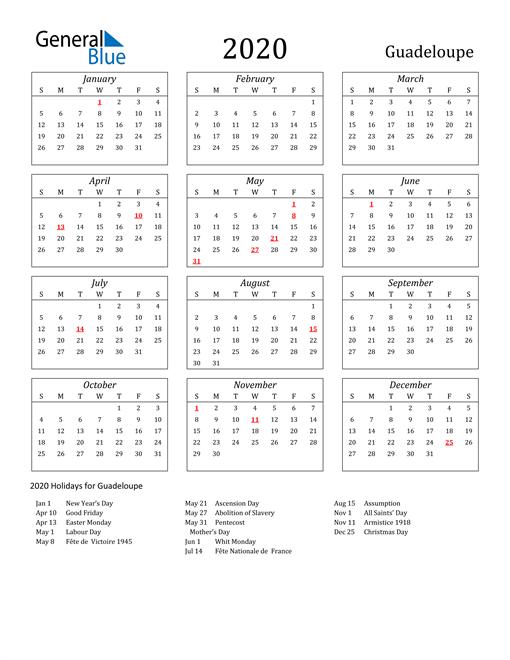 2020 Guadeloupe Holiday Calendar