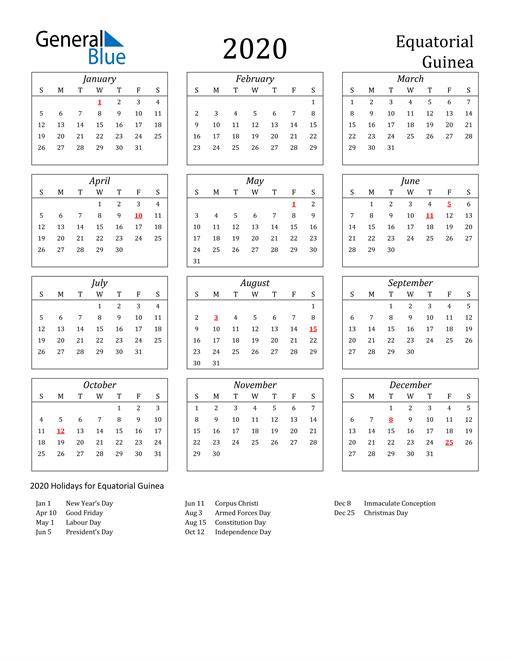 2020 Equatorial Guinea Holiday Calendar