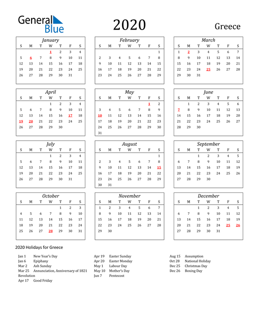 2020 Greece Holiday Calendar