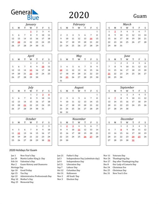 2020 Guam Holiday Calendar