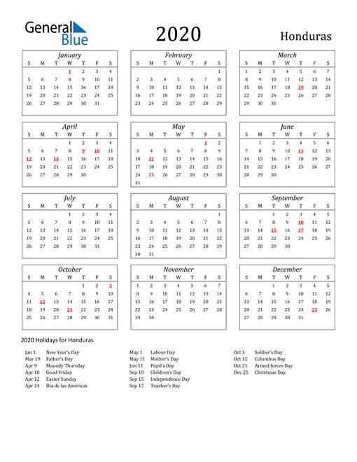 2020 Honduras Holiday Calendar