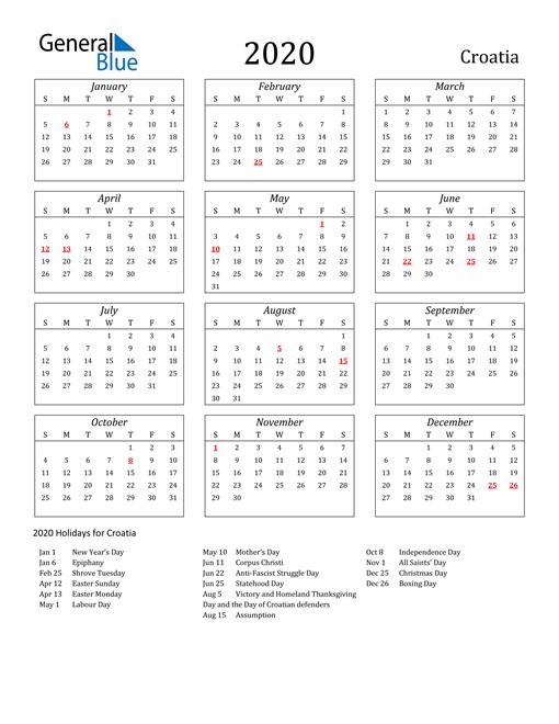 Image of Croatia 2020 Calendar Streamlined Version with Holidays