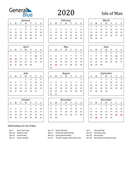 2020 Isle of Man Holiday Calendar