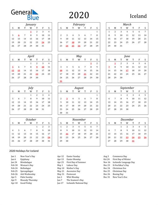 2020 Iceland Holiday Calendar
