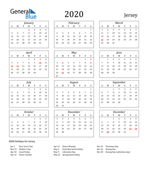 Image of Jersey 2020 Calendar Streamlined Version with Holidays
