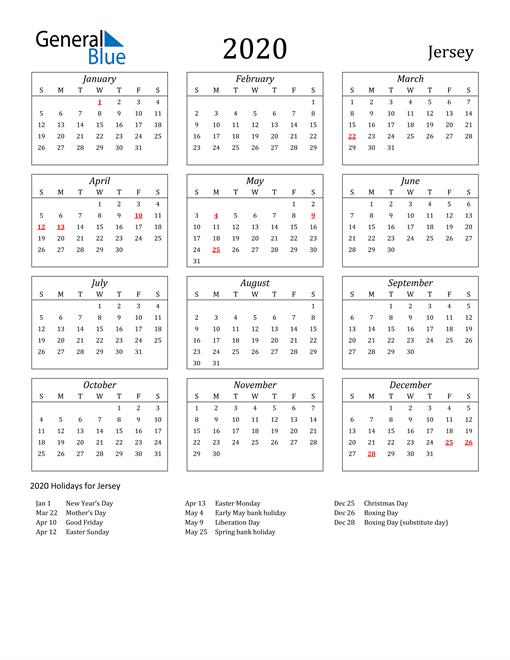 2020 Jersey Holiday Calendar