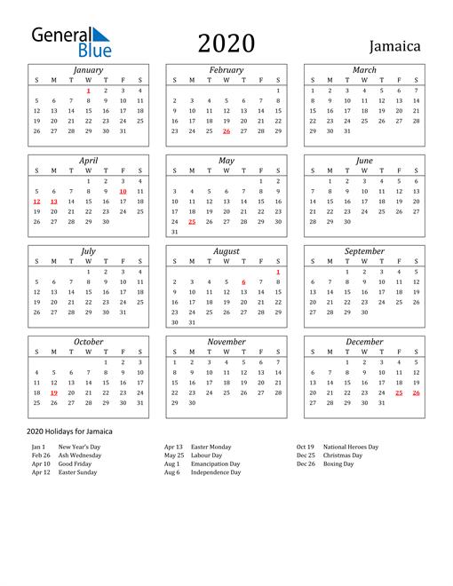 Image of Jamaica 2020 Calendar Streamlined Version with Holidays