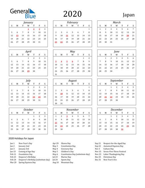 2020 Japan Holiday Calendar