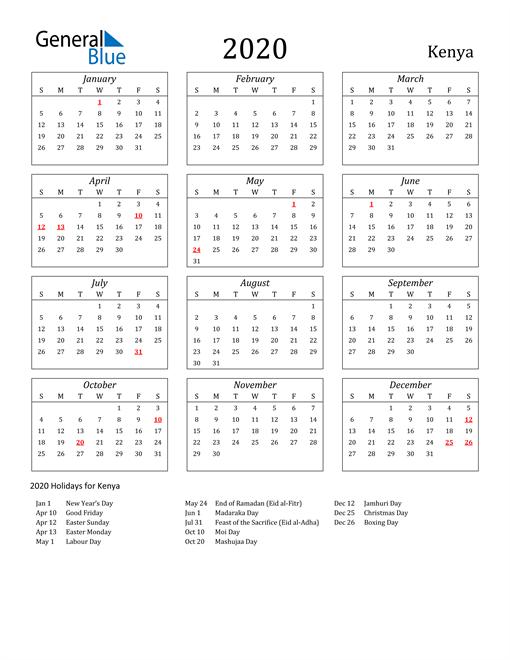 2020 Kenya Holiday Calendar