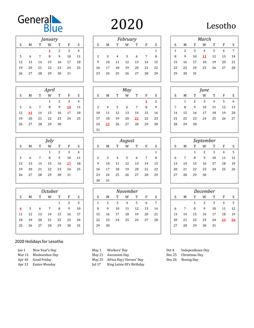 Image of Lesotho 2020 Calendar Streamlined Version with Holidays