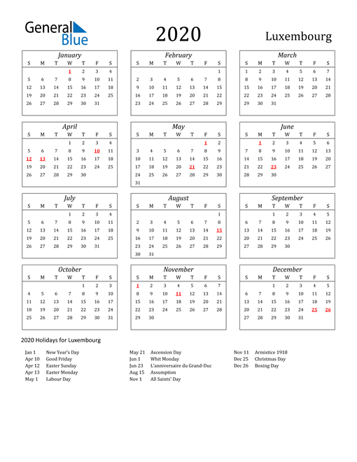 Image of Luxembourg 2020 Calendar Streamlined Version with Holidays