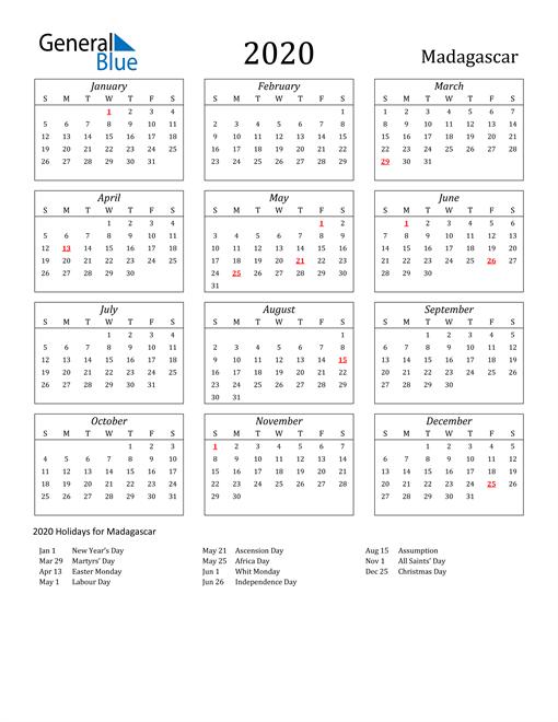 2020 Madagascar Holiday Calendar
