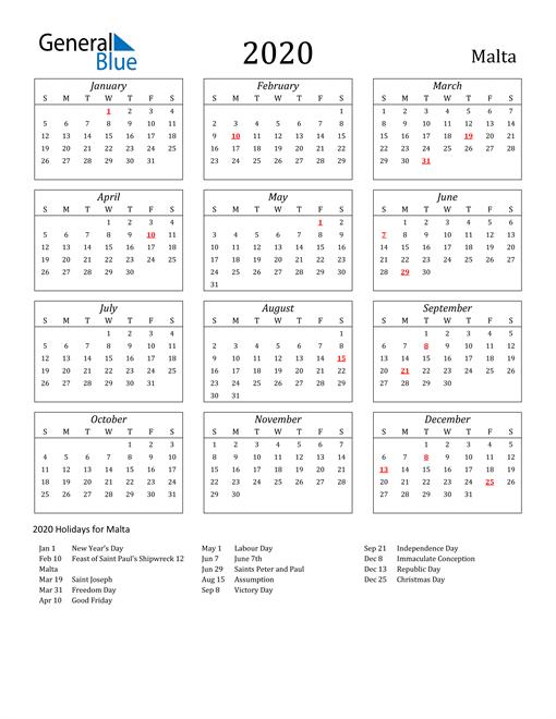 Image of Malta 2020 Calendar Streamlined Version with Holidays