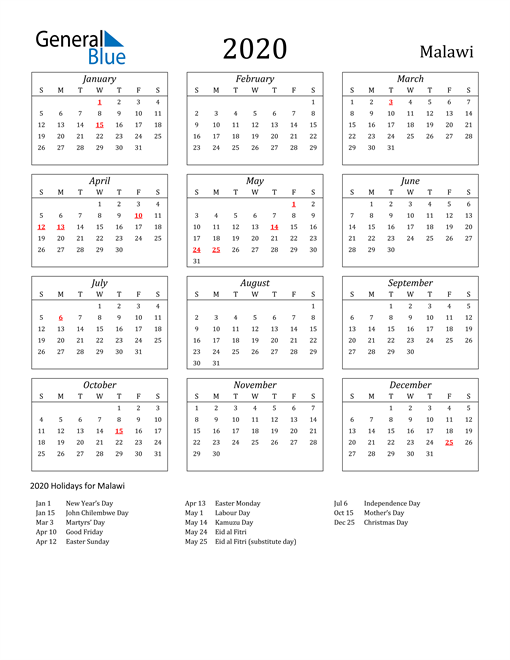 Image of Malawi 2020 Calendar Streamlined Version with Holidays