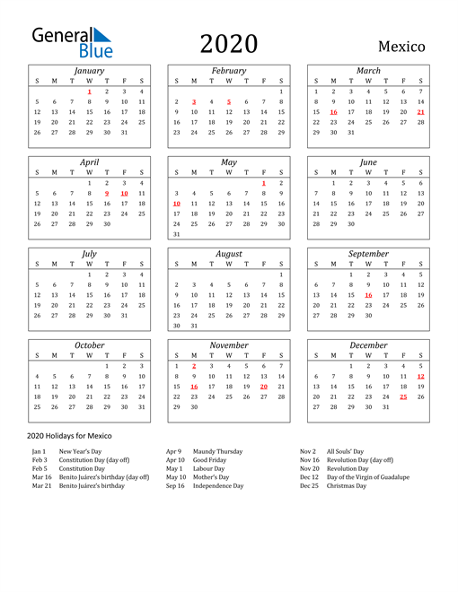 Image of Mexico 2020 Calendar Streamlined Version with Holidays