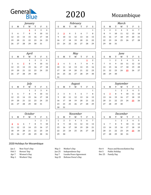 Image of Mozambique 2020 Calendar Streamlined Version with Holidays