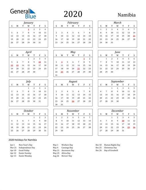 2020 Namibia Holiday Calendar