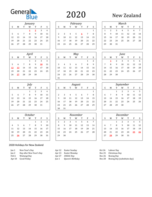 Image of New Zealand 2020 Calendar Streamlined Version with Holidays
