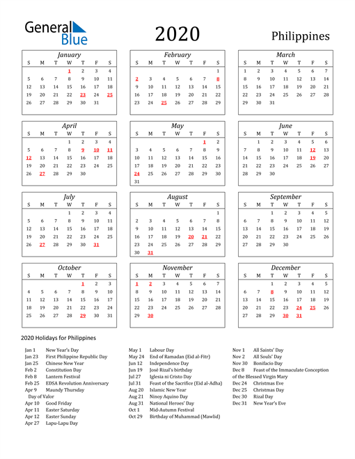 Image of Philippines 2020 Calendar Streamlined Version with Holidays
