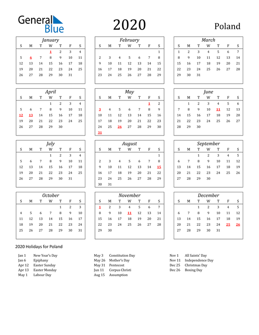 Image of Poland 2020 Calendar Streamlined Version with Holidays