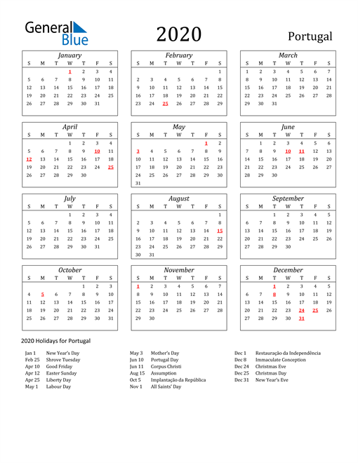 Image of Portugal 2020 Calendar Streamlined Version with Holidays