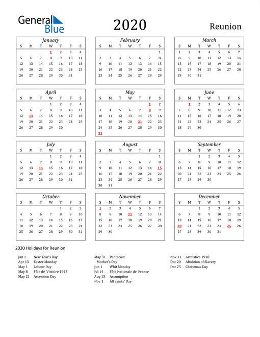 Image of Reunion 2020 Calendar Streamlined Version with Holidays