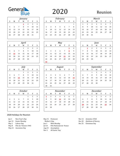 2020 Reunion Holiday Calendar