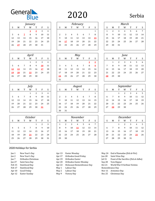 Image of Serbia 2020 Calendar Streamlined Version with Holidays