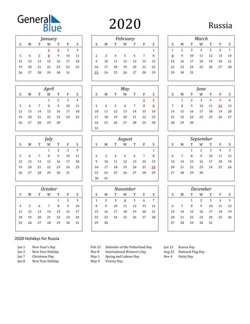 2020 Russia Holiday Calendar