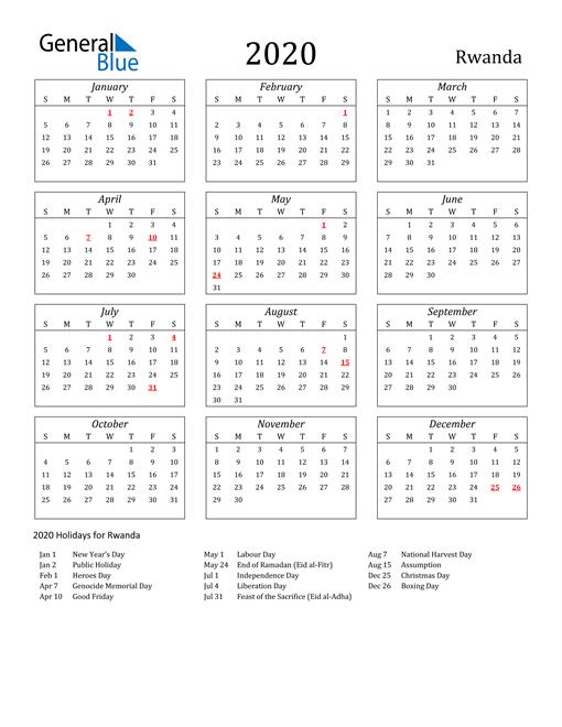 2020 Rwanda Holiday Calendar