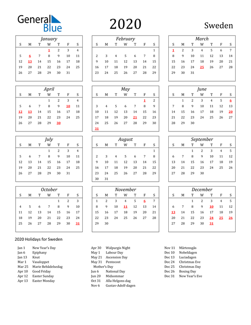 Image of Sweden 2020 Calendar Streamlined Version with Holidays