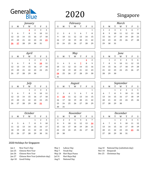 Image of Singapore 2020 Calendar Streamlined Version with Holidays