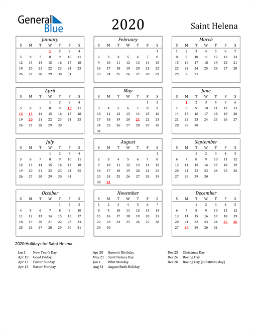 Image of Saint Helena 2020 Calendar Streamlined Version with Holidays