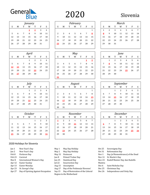 2020 Slovenia Holiday Calendar