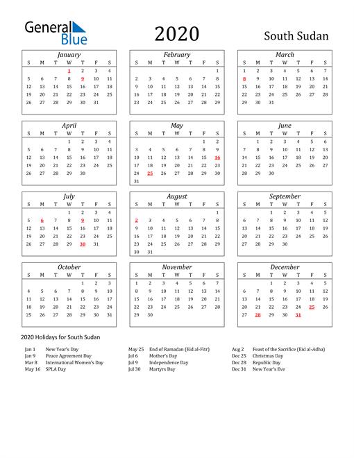 2020 South Sudan Holiday Calendar