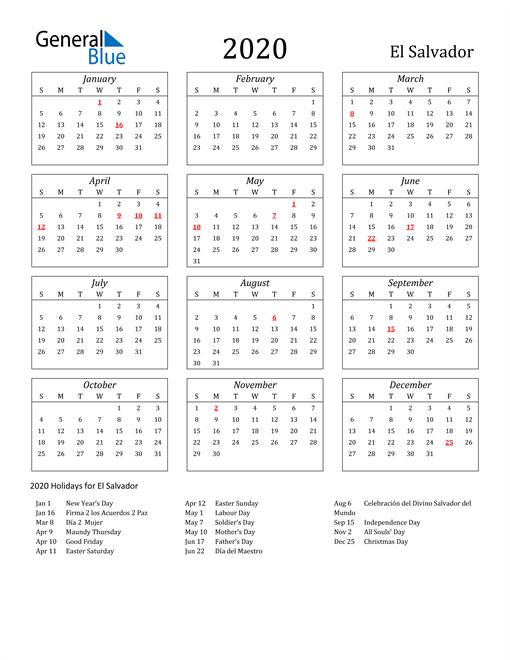 Image of El Salvador 2020 Calendar Streamlined Version with Holidays