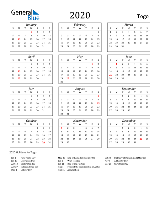 2020 Togo Holiday Calendar