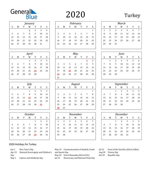 2020 Turkey Holiday Calendar