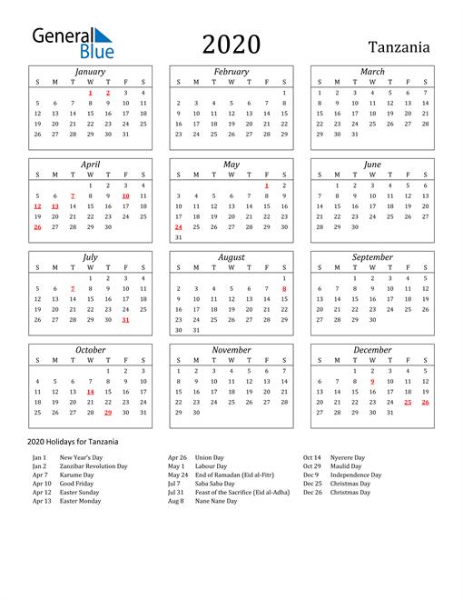 Image of Tanzania 2020 Calendar Streamlined Version with Holidays