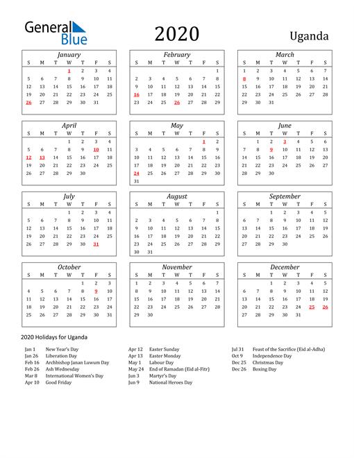 Image of Uganda 2020 Calendar Streamlined Version with Holidays