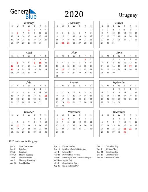 Image of Uruguay 2020 Calendar Streamlined Version with Holidays