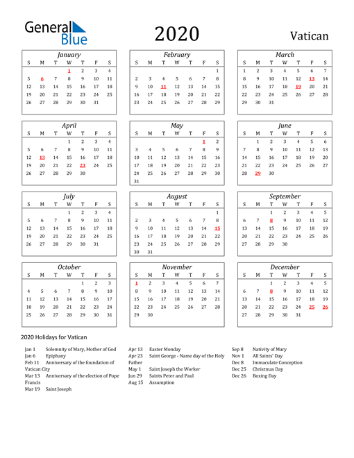 Image of Vatican 2020 Calendar Streamlined Version with Holidays