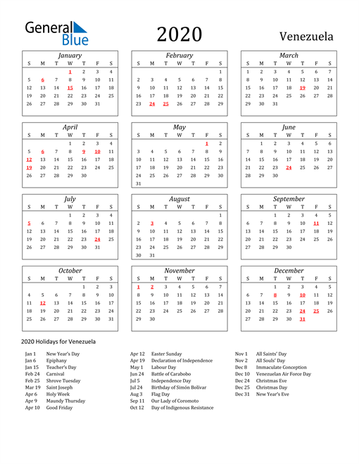 2020 Venezuela Holiday Calendar